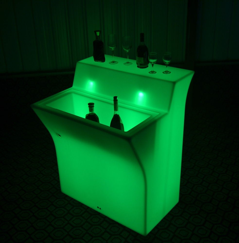 Rechargeable led plastic portable bar counter furniture lighted bar counter top