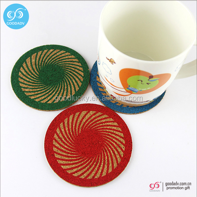 Customized printed logo round cork coasters and placemats