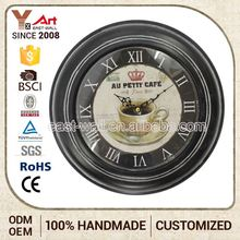 Preferential Price Custom Shape Printed Vintage Metal Wall Clock Trading Floor Clocks