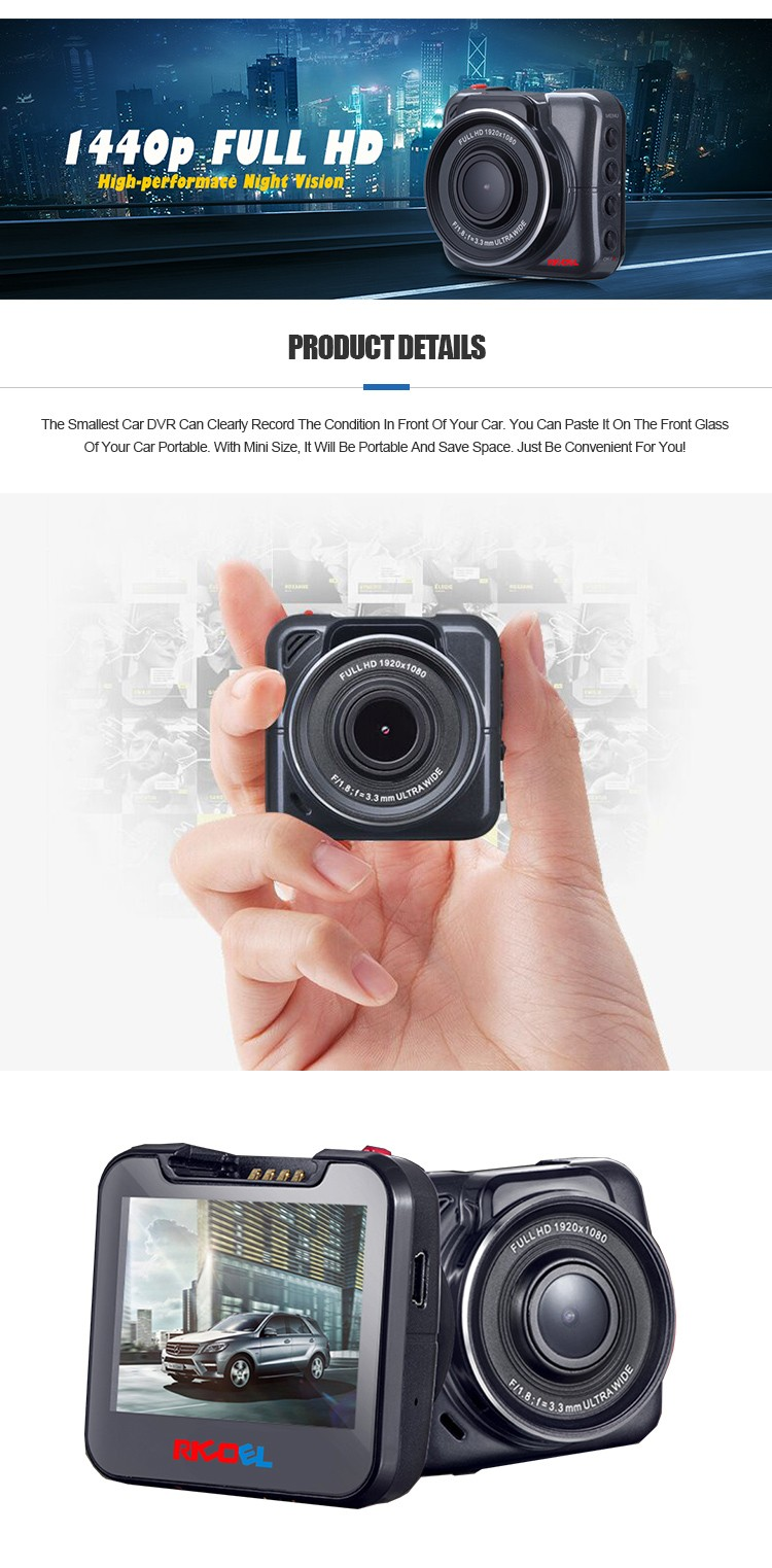 Car DVR Dash Cam 1440P HD Video Recording, 2. 0'' screen-170 wide-angle screen vision, 6 glasses hens comes with G-Sensor