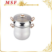 Middle east belly shape 24cm microwave steam pot with heat resistant brown bakelite handle MSF-3415