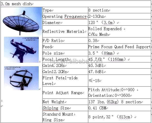 mesh dish 3m dish antenna tv dish satellite antenna, satellite antenna