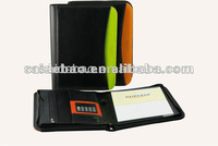 2014 black custom A4 leather notepad portfolio and calculator