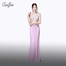 CAIJIA2017 Pink Fashion Beaded Sleeveless Wedding Dress Mermaid Prom Dress Long Round Neck Designer Evening Dress Patterns
