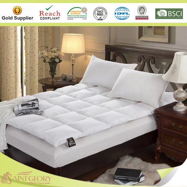 Wholesale Soft Hotel Baffle Boxes Washable Bed Mattress Topper Pad