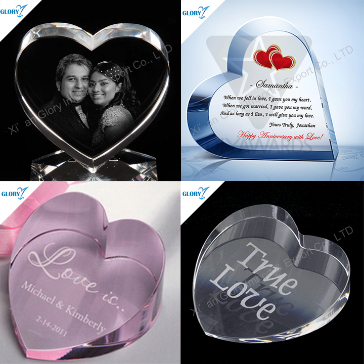 New Ideas K9 Crystal Heart Wedding Anniversary Gifts for Door Gift