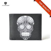 Bi-Fold Flap Closure Black PU Skull Men's Funky Wallet