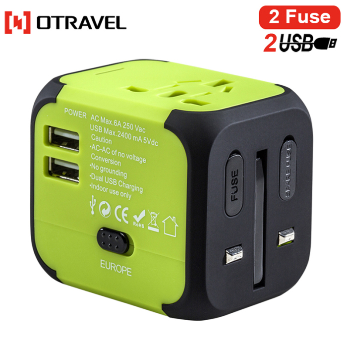 Women gifts bag/luggage accessories universal international usb world travel adapter spare fuse