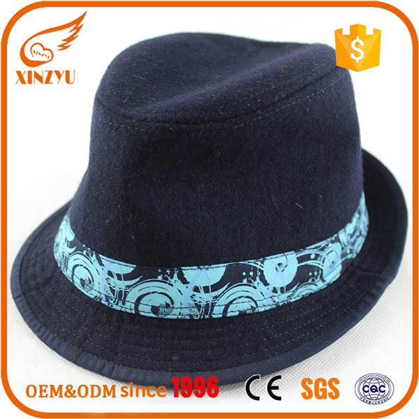 Wholesale custom mens dress fedora hats navy cheap fedora hats for men