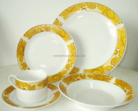 HOT SALE luxury 20pcs ceramic dinner set with artificial gold effect