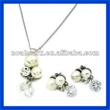 china factory cheap Silver Color Crystal Pearl Pendant and Earring Settings TPSS116#
