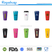 Colorful double wall FDA approval plastic coffee cup with customized logo printed