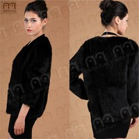 2015 MBA Furs NEW Real Knitted black MINK Fur Jackets