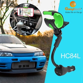 2017 universal hot sale dual usb car charger output 5V 2.1A car charger holder