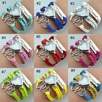 Newest style popular heart leather watch bracelet , colorful ladies bracelet wrist watch