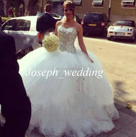 2014 New Arrival Luxurious Sweetheart Crystal Rhinestone Beaded Long Big Wedding Dress Women Bridal Gown Free Shipping JWD124