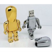 metal cartoon Robot shape usb flash disk,usb pen drive with real capacity FDM17