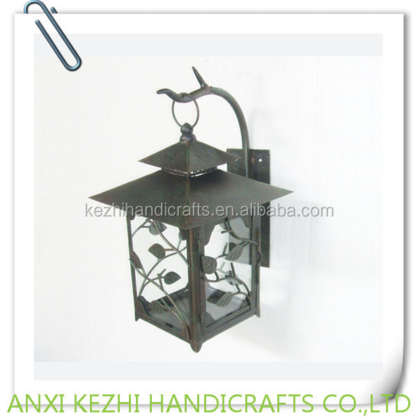 wrought iron lantern wall candle sconce