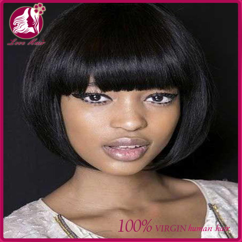 customized new style 100% Peruvian human hair Short Bob Wigs Silk Straight 10-16inch Human hair lace front/ full Lace wigs