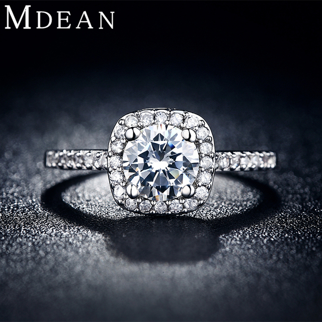 MDEAN Wedding rings for women platinum plated jewelry luxury rings Engagement square bague AAA zirconia Accessories bijouxMSR035