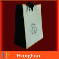 High quality Branded Shopping Paper bag with ribbon handle