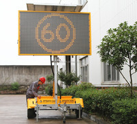Solar Power Outdoor Mobile Led Display Signage Vms Trailer Led Variable Message Sign Board For Sale