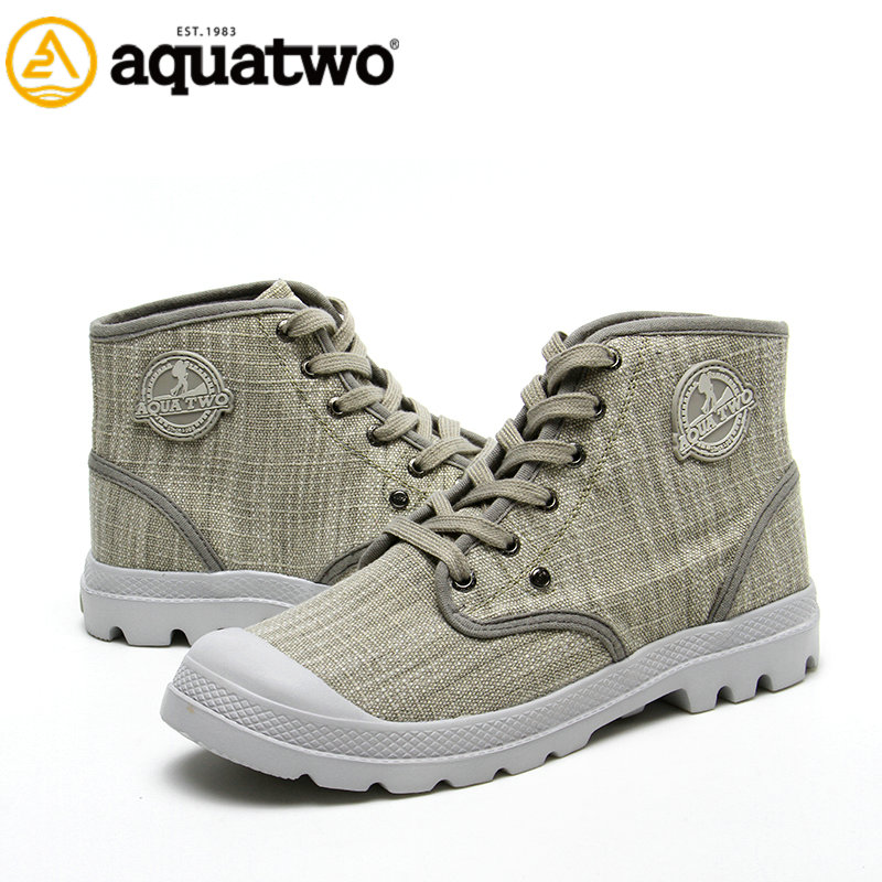 2017 New Cowboy Style Aqutwo High Ankle Casual Canvas Boots for Men