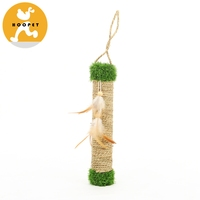 Eco-friendly sisal cat tree cats scratch post with swing feather toys