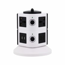 Conference Table Universal 6 Way Vertical Smart Power Socket with 4 USB Charging Ports