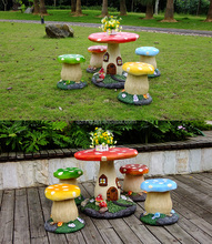 kids party mushroom garden table set for outdoor party