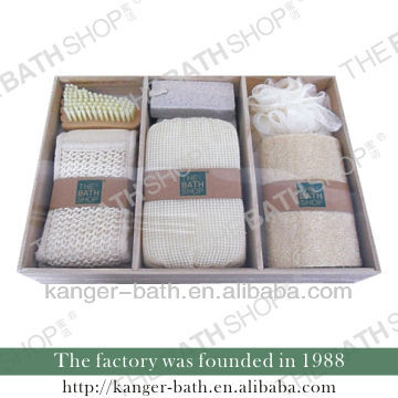 hemp and loofah bathroom gift set accessories