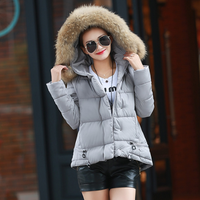 WA10002 Lady fashion clothes women short style big fur collar slim fit down jacket