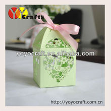 "wedding favor and gift laser cut ""peacock"" wedding favor box wedding souvenirs box with ribbon"