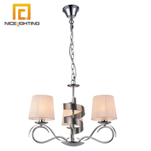 NICE lighting factory 3 light CR silver color fabric shade chandelier import from china