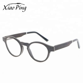 Wholesale Custom Brand Black Round OAK Wood Eye Glasses Optical Frame Eyewear