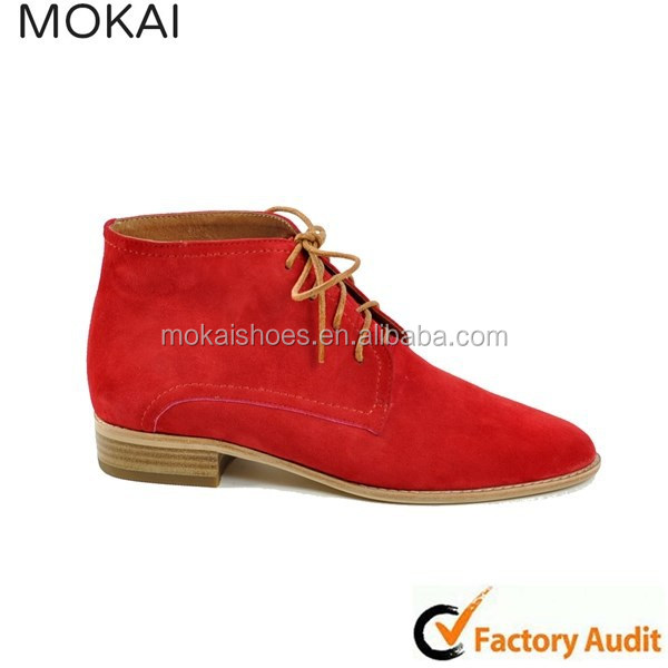 MK031-1 DK red italian casual shoes, cowboy style boots, flat lace-up shoes