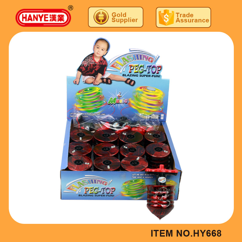 HY668 Baby Plastic Chain Link Toy Infrared Spin Top with Light Music