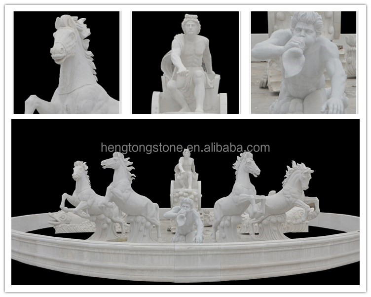 Large Outdoor Garden Stone Water Fountain with horses