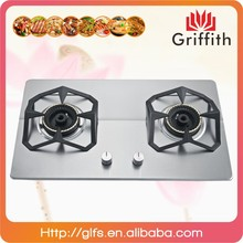 Stainless steel cast iron pan support 2 burner gas stove,cast iron gas cook stove