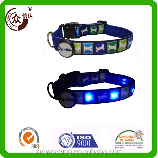 Hot selling heat-transfer print LED dog collar with plastic buckle