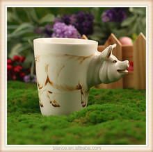 ceramic pig coffee mug in pig snout handle design mug