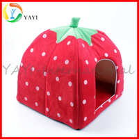 Soft White Dots Strawberry Pet Cat Dog House Bed With Warm Plush Pad