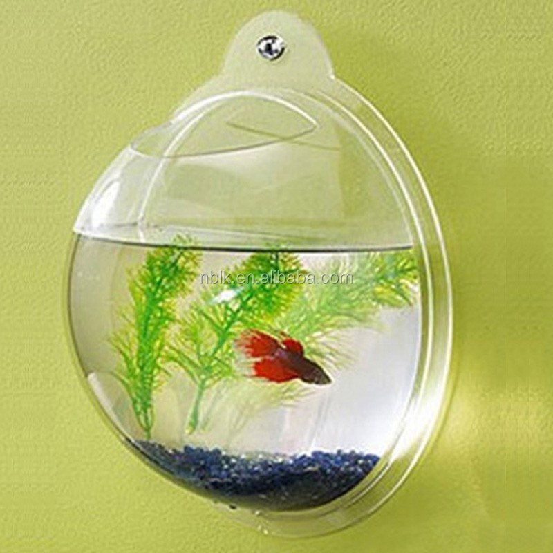Beautiful Acrylic Wall Hanging Fish Tank, Plastic Decorative Fish Bowl