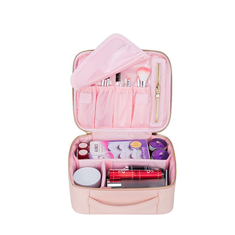 2018 travel pouch pink makeup train case portable cosmetic brush bag