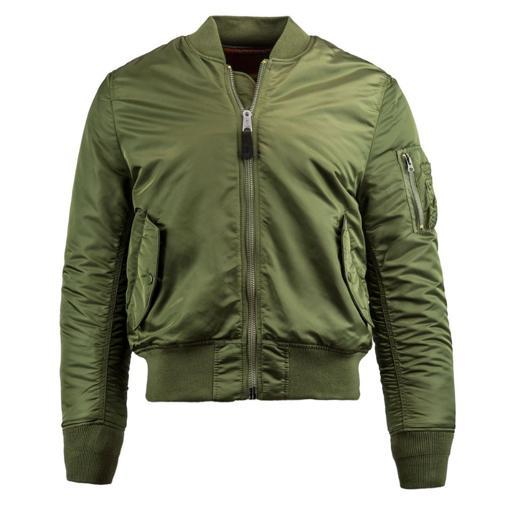 Army Green Zipper Outerwear Reversible Nylon Bomber Jacket Green