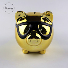 Hot sale cut pig ceramic gold piggy bank for wholesale