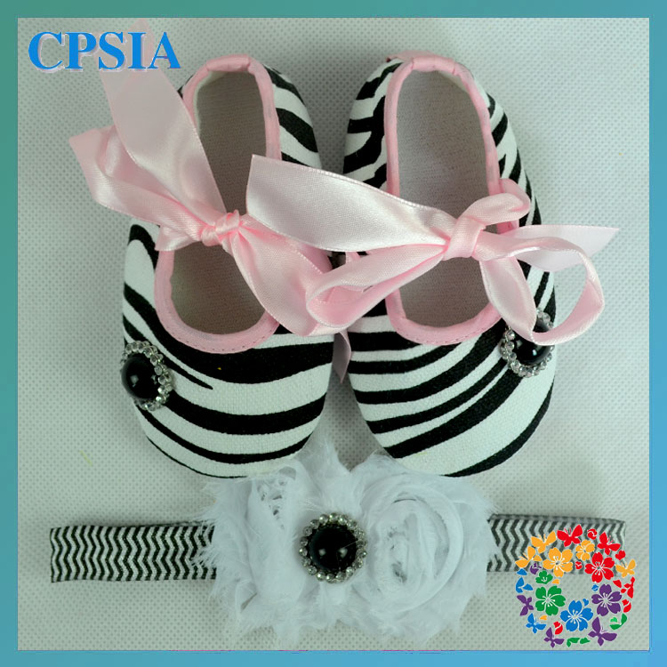 2015 Baby Safety Shoes Lovely Zebra Crib Shoe Matched Headband For Prewalker