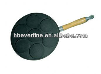 Wood Handle Cast Iron Cake Pan, Cast Iron Poffertje Pan