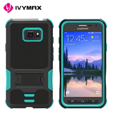 Mobile phone accessories black rugged impact armor hybrid heavy duty with kickstand cover case for samsung galaxy s7 active G891