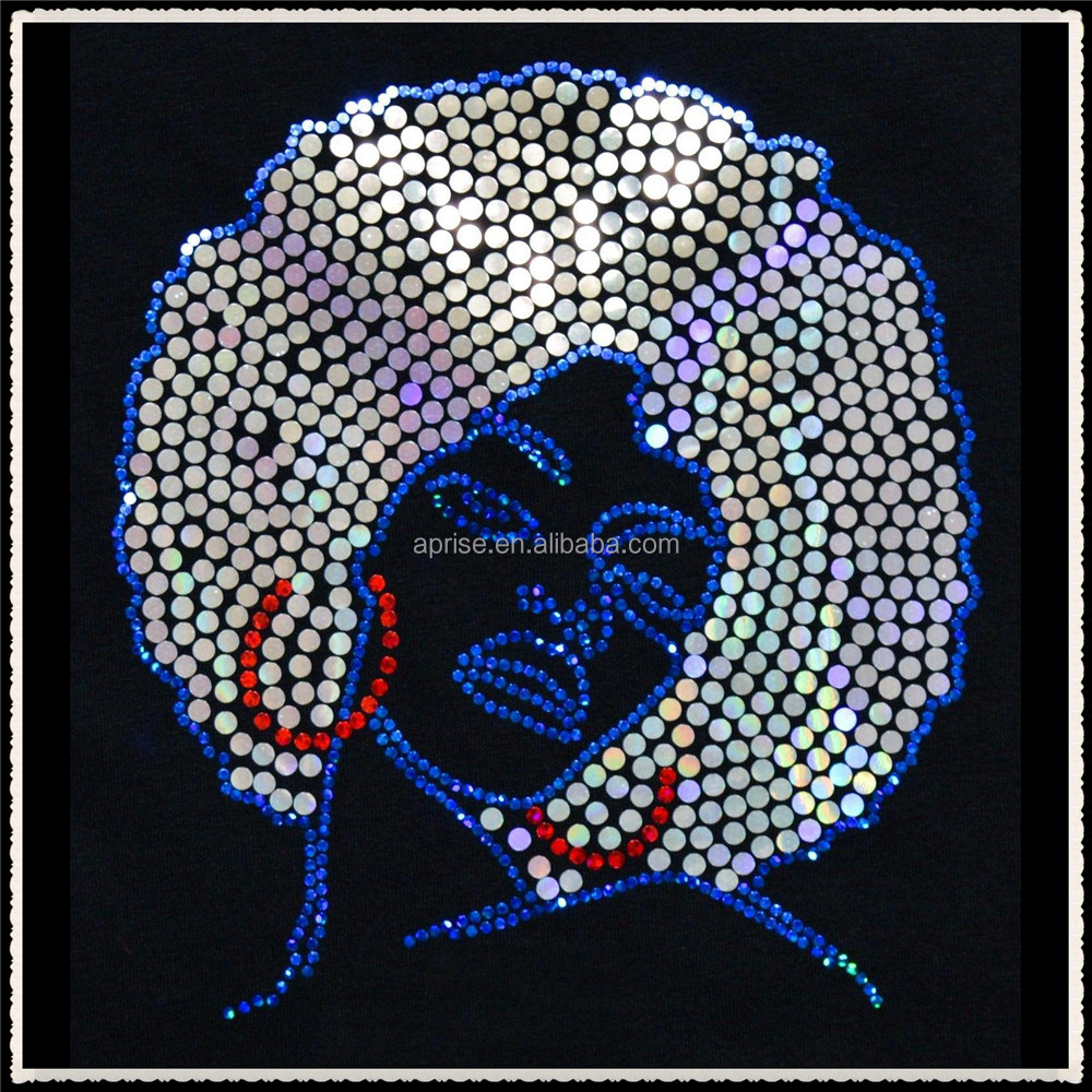 Aprise - Afro Girl Bling Sequins Motif rhinestone transfer for Garment